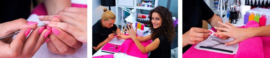 woman with stylist on manicure